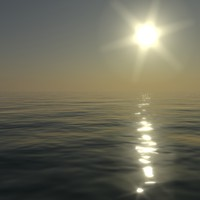 3d model water surface sun sunset