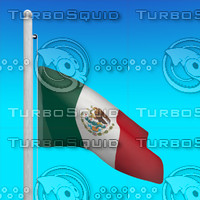 3d model flag mexico - loop