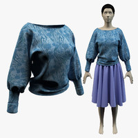 dolman shirt skirt avatar 3d max