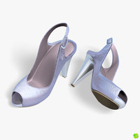 obj silver shoes heels low-poly