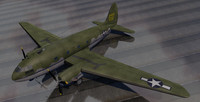 curtiss-wright c-46 commando transport 3d model