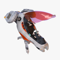 3d single-seater ship model