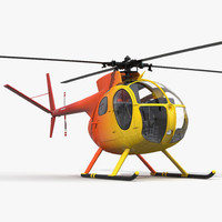 3d ligh helicopter hughes oh-6 model