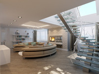 3d modern penthouse apartment interior