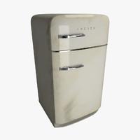 3d model old vintage refrigerator