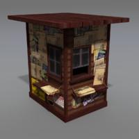 obj modeled old news stand