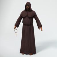 monk franciscan 3d obj