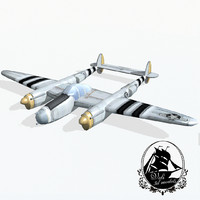 lockheed p-38 lightning fighter aircraft 3d model