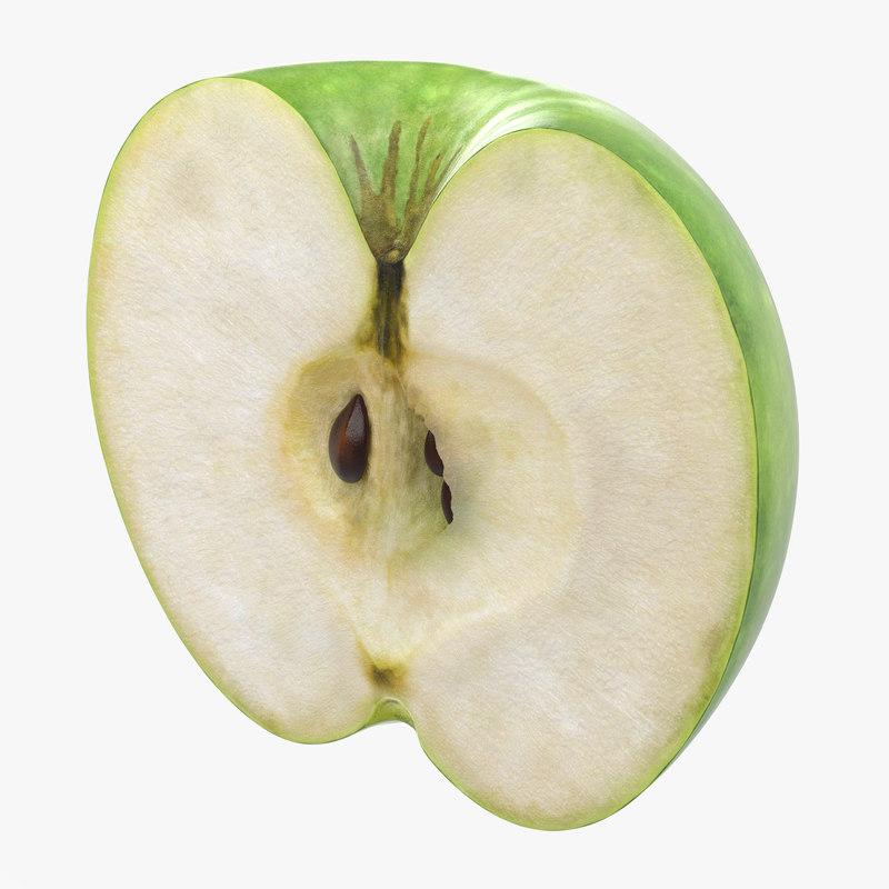 Green Apple Cut in Half 3d model 01.jpg