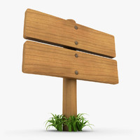3d model realistic wooden signboard grass