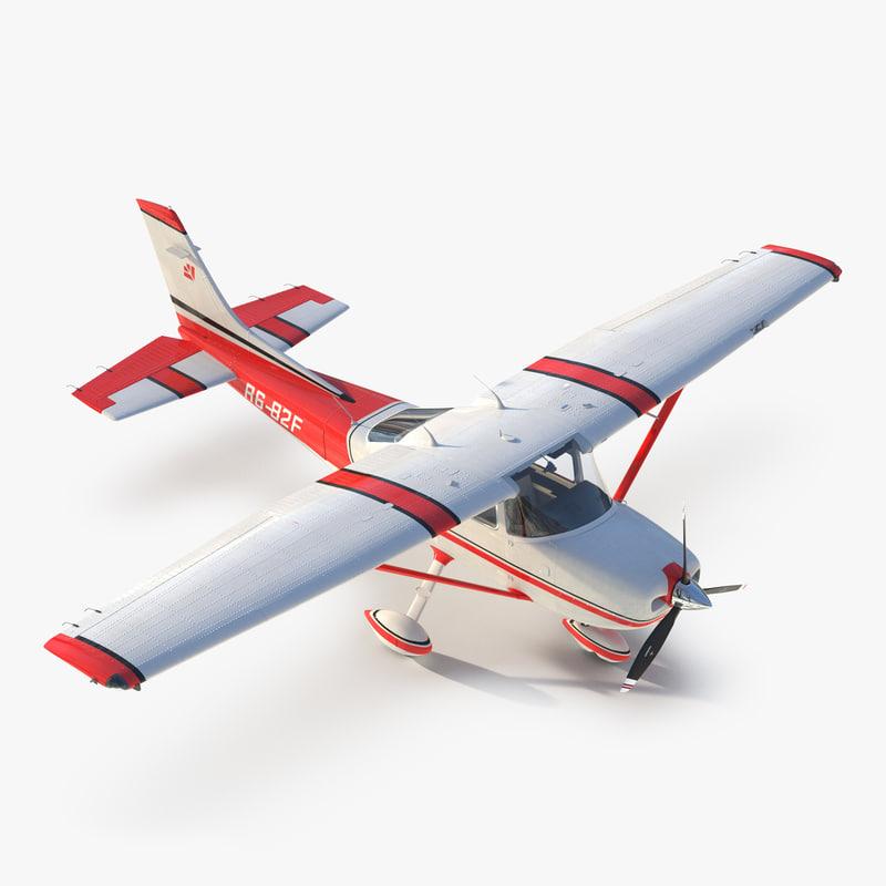 Cessna 182 Skylane Red 3d model 001.jpg