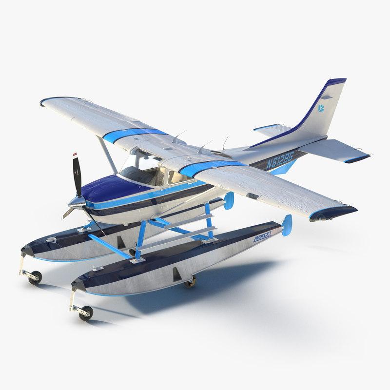 Cessna 182 Skylane on Floats 3ds model 001.jpg