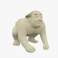 netsuke sumo wrestler 3d max