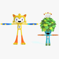 3d 2016 olympic mascots model
