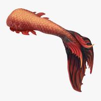 3d model mermaid tail 02 swimming