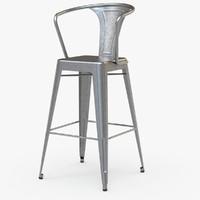 3d vintage metal bar stool