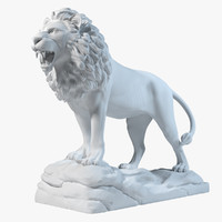 lion statue sculpture 3d model