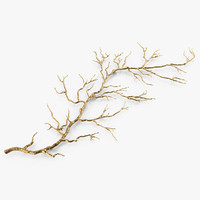 3d model gold twig branch wall