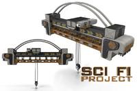sci fi crane overhead 3d model