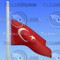 3d model flag turkey - loop