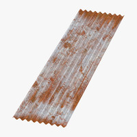 3d model corrugated metal sheets rusted