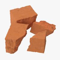 bricks broken 02 3d model