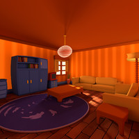 3d c4d living cartoon room