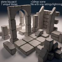 stone pack 3d model