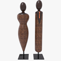wooden statuettes wood 3d max