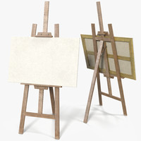 easel canvas picture clean 3d model