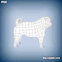 3d c4d base mesh pug dog