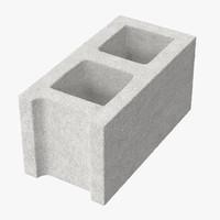 3d model cinder block 01