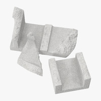 3d cinder blocks broken 01 model