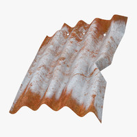 corrugated metal sheet bent 3d model