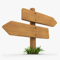 realistic wooden signboard grass 3d model
