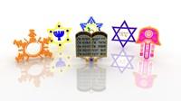 jewish symbols engraving 3d model