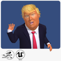 rigged cartoon donald trump 3d model