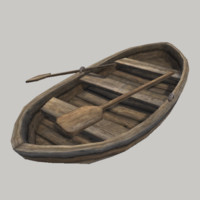 3d model realistic medieval row boat
