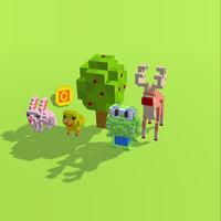 pixel animals 3d model