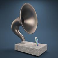 phone gramophone 3d max
