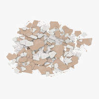 3d model broken sheetrock 04 -