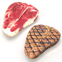 3d realistic raw grilled porterhouse