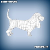 3d c4d base mesh basset hound dog