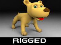 rigged cartoon dog 3d model