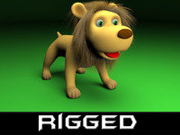 3d rigged cartoon lion model