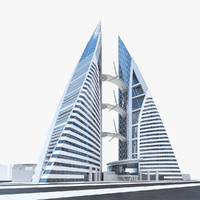 3d model of bahrain world trade center
