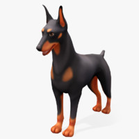 cartoon animals doberman 3d model