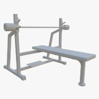 3d olympic flat bench model