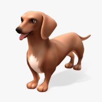 cartoon animals dachshund 3d fbx
