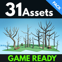 3d model of forest dead trees pack